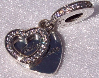 Authentic Pandora, Beloved Mother, Bracelet Charm, Silver Heart, Cz 925 ALE, Mom, Cherished, Gift Ideas, Sparkling, Dangle, FREE SHIPPING