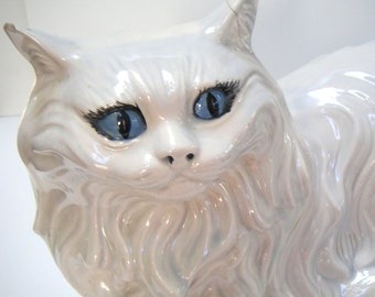 Vintage Ceramic Cat By Alberta Molds Inc.,Life Sized White Persian Cat