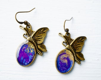Blue and Purple Painted Butterfly Earrings