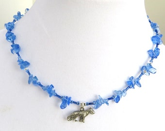 SKY WOLF- Handmade Beaded Necklace- Glass Chip Beads, Wolf Charm- Magnetic Clasp