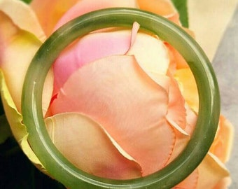 "Faux Jade Bangle Bracelet - Apple green glass 2.5"" diameter"