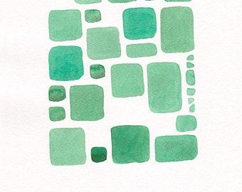 Original modern art. Green abstract squares painting.