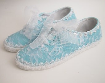 Wedding Bridal Flat Dancing Shoes - Organza laces - Rhinestone Pearls - eyelet trim - vintage inspired - sneakers tennis aqua light blue