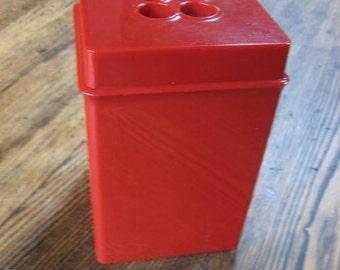 DANSK Gourmet Design Kitchen Canister 2 QT Red Plastic 4 Hole Grip 1960s