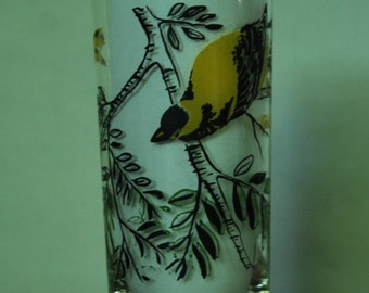 Vintage Painted Goldfinch Water Glass