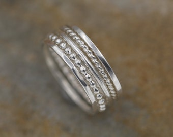Silver Stacking Ring Set - 5 Rings - 1.3 mm Rings - Thick Silver Ring Set - Hand Made in Argentium *Special*