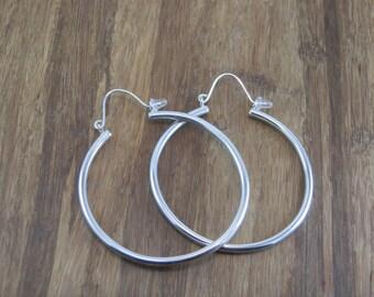 Large Silver Hoop Earrings - Thick Hoop Earrings  - Hoop Earrings - Clasp Hoops - Tubing Hoops - Large Hoops