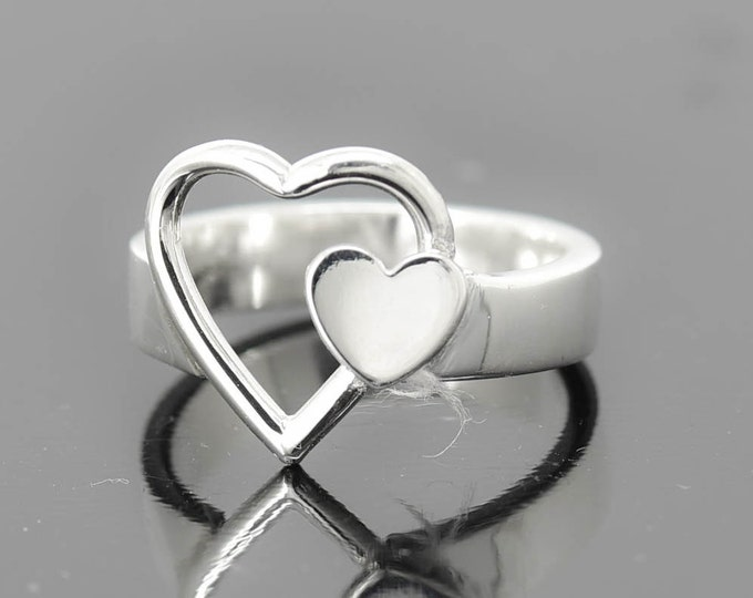 Infinity Ring, Heart Ring, Bridesmaid Gift, Sterling Silver Ring, best friend, promise,personalized, friendship, sisters, mother daughter