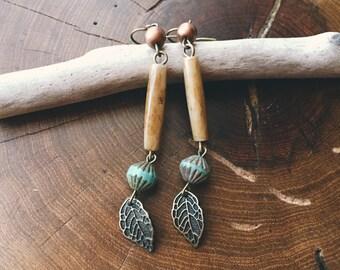 Earthy Feminine Bone & Brass Leaf Earrings
