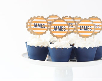 Boy Birthday Party Cupcake Toppers Boy Baby Shower Cupcake Topper Navy Blue and Orange Party Supplies Name Cupcake Toppers Nautical Birthday