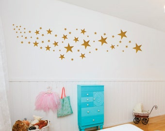 Gold  Star Decals - Star Wall Decals - Nursery Wall Decals - Design Pack of 109 Stars