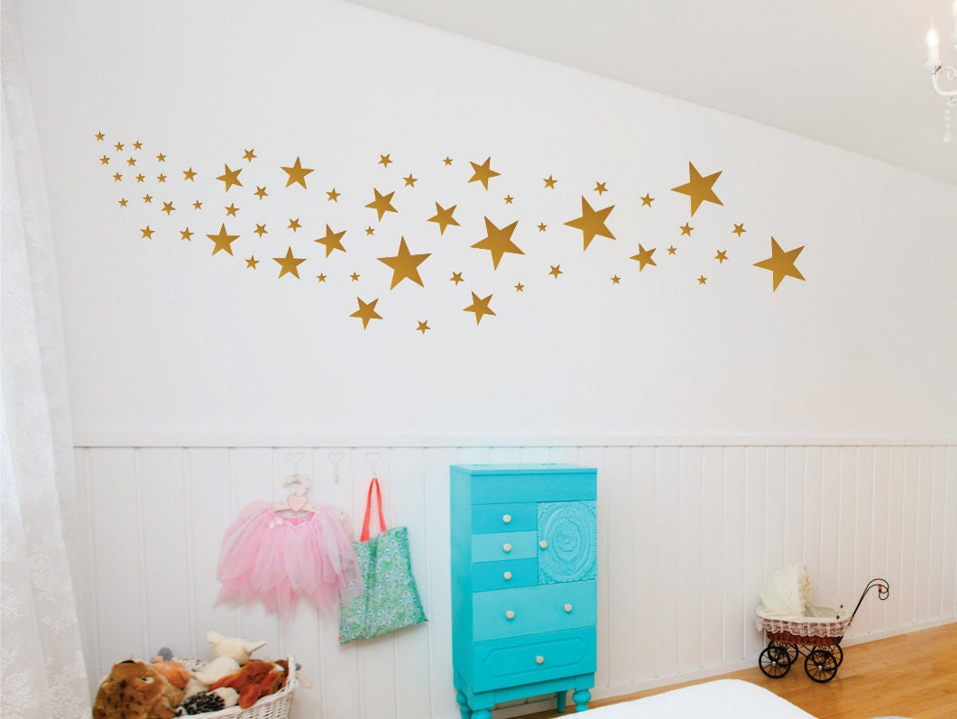 gold star decals star wall decals nursery wall decals. Black Bedroom Furniture Sets. Home Design Ideas