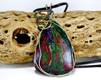 Polymer Clay Cabochon Necklace, Sterling silver wire wrapped, Leather cord, Abstract design, deep, rich colorful lrge, unique, gift under 25
