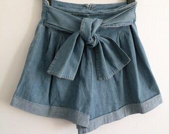 80s Denim Blue Jean Cotton High-Waisted Shorts - S