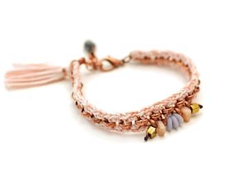 Crochet Bracelet, Tassel Bracelet, Old Rose Breacelet, Pastel Bracelet, Boho Chic, Beaded Bracelet, Hippie Bracelet, Evil Eye Bracelet