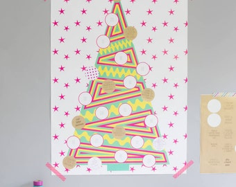 SALE 50% OFF - Advent activity calendar - encourages thoughtfulness & creativity over the festive season! Gold stickers and tropical shades