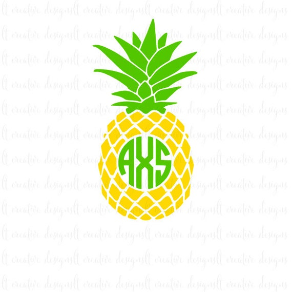 Pineapple Monogram Svg Pineapple Svg Pineapple Circle