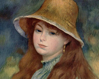 Antique Print, 1952 Renoir Girl With A Straw Hat, 1860s wall art vintage color lithograph illustration historical painting chart