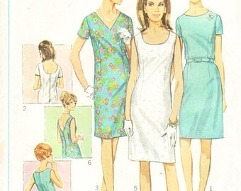 1960s Plus Size Sheath Dress in Six Variations  - Vintage Simplicity Sewing Pattern 7100 - Size 43 Bust