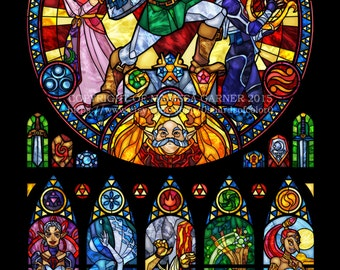 Half Size - Zelda: Ocarina of Time - Stained Glass Transparency Print