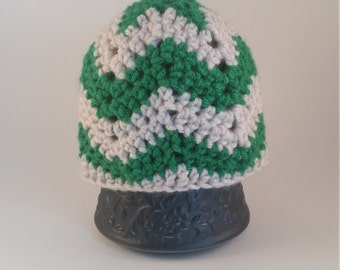 Green Chevron Baby Beanie Hat