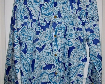 Vintage Ladies Blue Printed Cotton Shirt by Chaps Small Only 5 USD