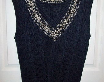 Vintage Ladies Navy Blue Sleeveless Sweater Vest by Outback Red Medium Only 5 USD