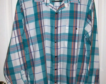 "Vintage Men's Teal Green Plaid Shirt by Towncraft Medium 15 - 15 1/2"" Neck Only 7 USD"