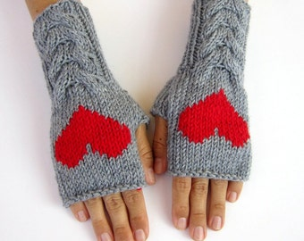 PDF pattern knitting pattern arm warmers wrist warmers gloves mittens with heart