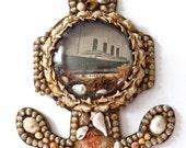 Antique Shell Souvenir Diorama, Antique Sailors Valentine, Antique Maritime Folk Art, TITANIC Souvenir