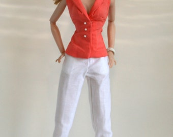 Peach blouse and white pants for Fashion Royalty Dolls