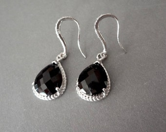 Black teardrop earrings ~ Sterling Silver - Teardrops  - Bridal Jewelry - Bridesmaids - Classic - Birthday, anniversary, Gift