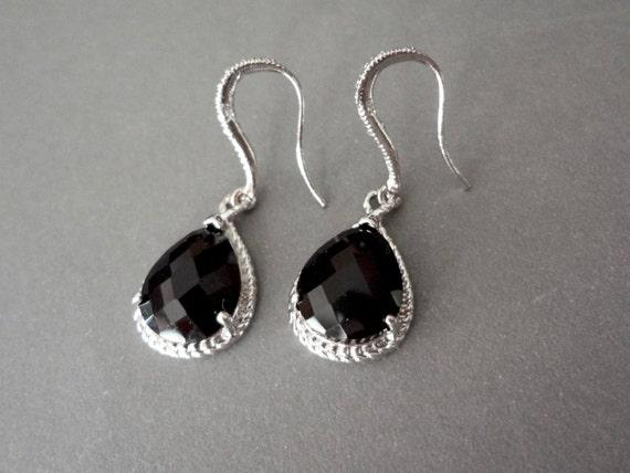 Black teardrop earrings ~ Sterling Silver - Teardrops  - Bridal Jewelry - Bridesmaids - Classic - Birthday, anniversary, Gift