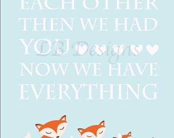 Boy Fox Nursery Art, Boy Woodland Nursery Print, Orange Fox Decor, Brother and Sister Print, Fox Family, Woodland Kids Decor - 8x10