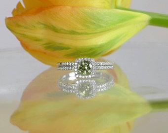 Green Tourmaline, Tourmaline Wedding Set, Natural Green Tourmaline, Sterling Silver, Gemstone Wedding Set, Green Gemstone