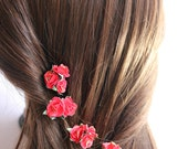 Red Flower Hair Pins. Red Flowers, Bridal, red roses, valetine, Weddings. wedding, flower hair, bridal hair, bridesmaids