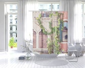 Shower curtain art Venice travel photography architecture window art bathroom decor Italy coral home decor neutral home decor bathroom art