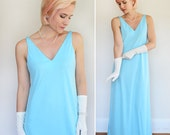 1970s Light Blue Sleeveless Maxi Dress by Designer Don Luis de Espana / Long Gown / Made in Spain / Medium