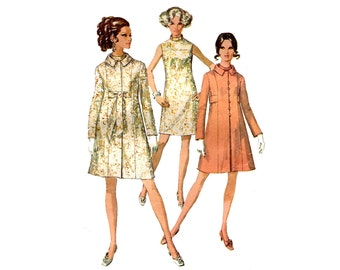 1960s Dress and Coat Pattern Mod A Line Cocktail Dress Stand Up Collar Side Panels Simplicity 7975 Bust 32 Vintage Sewing Pattern