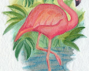 Flamingo - Watercolor - Embroidered on Kona Cotton Quilt Block // Plain Weave Cotton Dish Towel // Also Available on Other Items