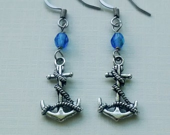Antique Silver Anchor Earrings -  Hypoallergenic