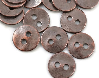 12mm Button - Bronze Patina - 8 Bronze Buttons