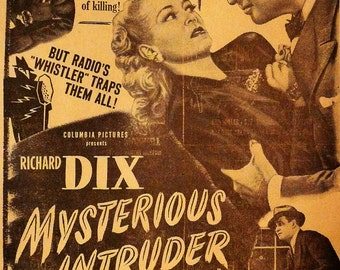 Orignal 1940s Newspaper Movie Poster Mysterious Intruder Film Noir Pulp Fiction