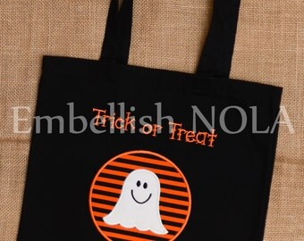 Ghost Applique Personalized Trick or Treat Bag Canvas Tote Bag