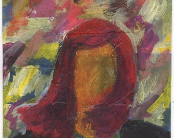 "Original Mixed Media - ""Woman on the Colorful Windy Day"" by Peter Mack"
