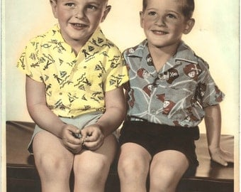 "Vintage Hand Tinted Photo - Brothers - Pirate Shirt - Mid Century - 5"" X 7"" - Vintage Studio Portrait - Hand Colored - Collectibles"