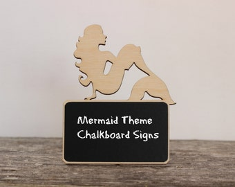 ONE Little Mermaid Birthday Party Decorations, Mermaid Birthday Party Supplies,Chalkboard Signs,Little Mermaid Theme Party,Food Markers