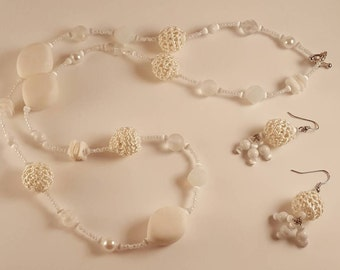 Airbound  - White Beaded and Crochet Necklace and Earrings Set