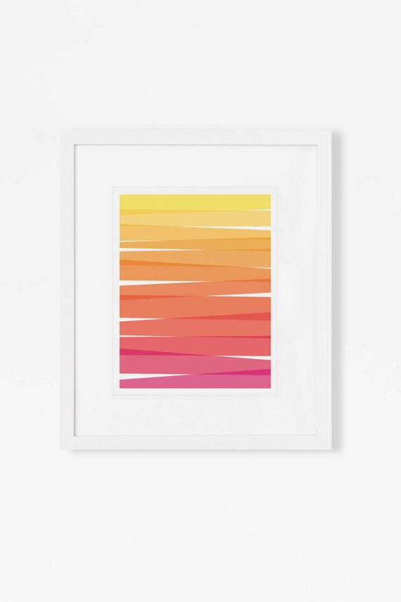 "Ombre Abstract Art Print - Magenta, Yellow, Orange Wall Art - Mid Century Modern Artwork - 5x7"", 8x10"", 11x14 Wall Art Print"