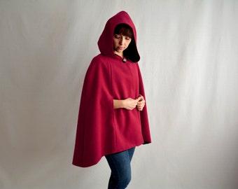 Hooded cape, wool cape, marsala cape, fall fashion, fairy tale cape coat, burgundy cape,hooded cloak, adult cape, marsala cloak